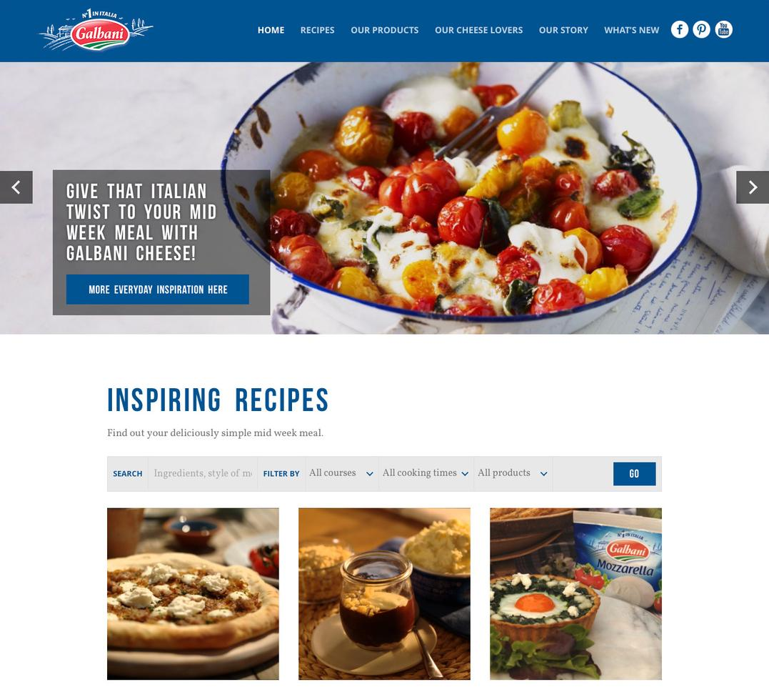 Galbani home page, showing a an image carousel and recipe grid view with filters.