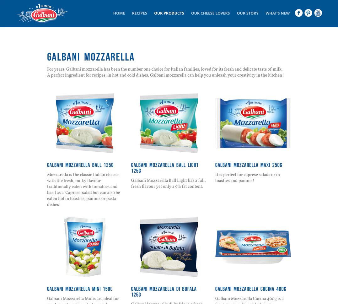 Galbani products page, showing a grid of cheese products and descriptions.