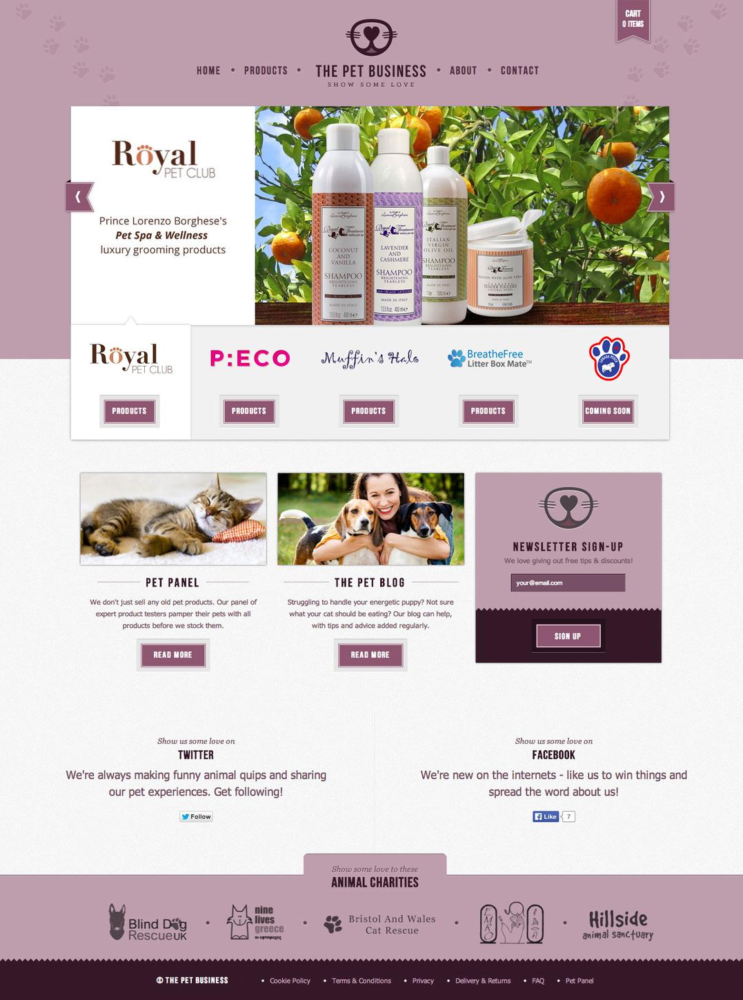 The Pet Business home page featuring a products carousel and various calls to action.