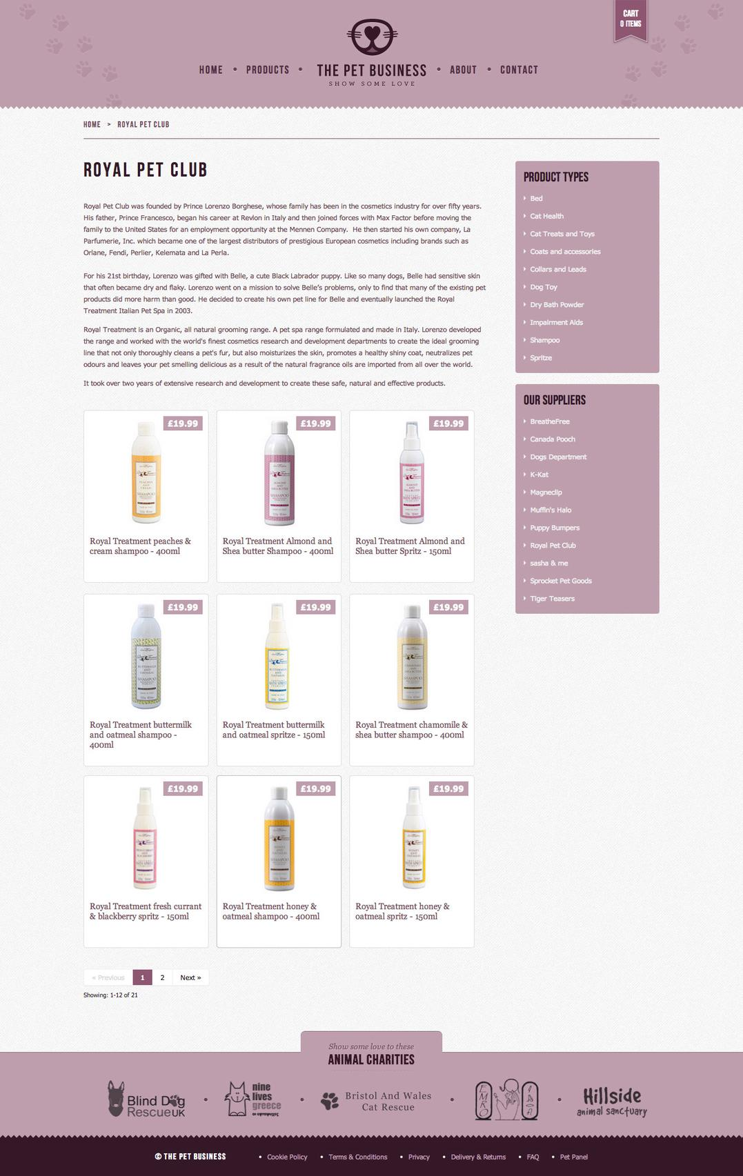The Pet Business products page, showing a grid of products and filters.