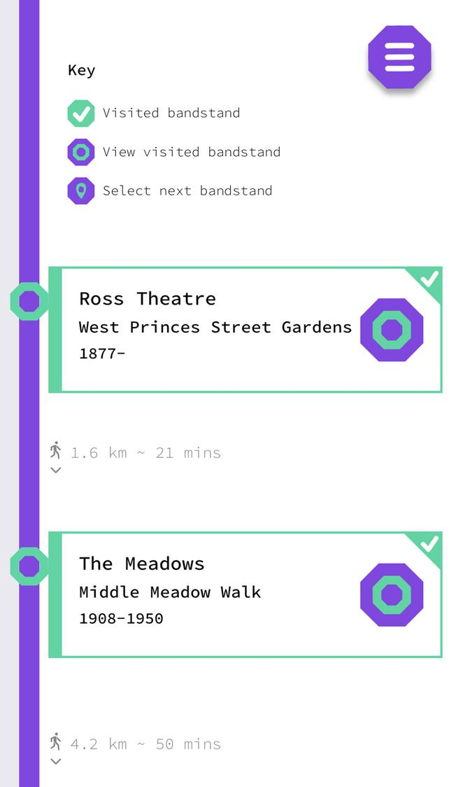 Bandstands app locations listing screen