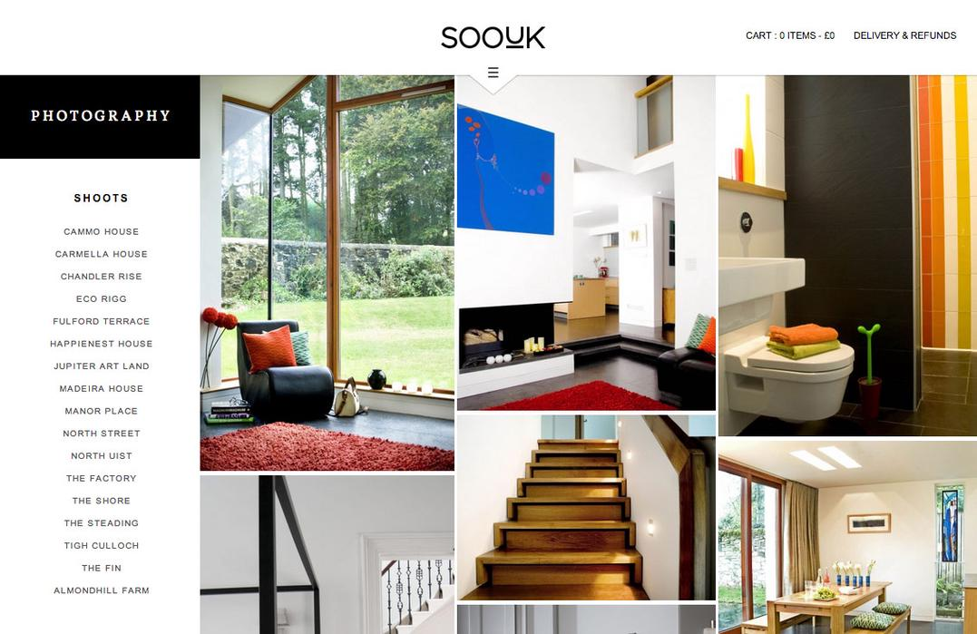 SooUK photography page, showing a grid of interior photos.