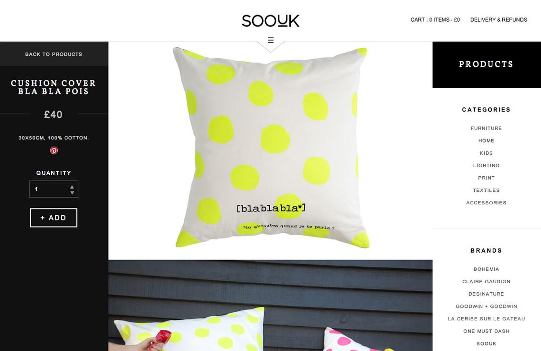 SooUK individual product page showing bright cushion design.